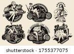 set of vintage pin up girls for ... | Shutterstock .eps vector #1755377075