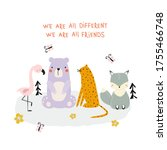 cute animals friends and quote. ...   Shutterstock .eps vector #1755466748