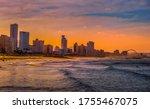 Durban golden mile beach with...