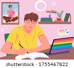 young homosexual boy studying...   Shutterstock .eps vector #1755467822