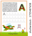 worksheet for tracing letters.... | Shutterstock .eps vector #1755487658
