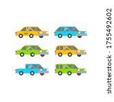 flat cars set vector icon ... | Shutterstock .eps vector #1755492602