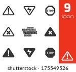 vector black danger icons set... | Shutterstock .eps vector #175549526