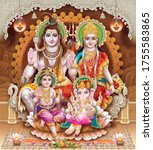 Indian God Shiva Family with decorated background