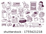 set of shop keeper doodle in... | Shutterstock .eps vector #1755621218
