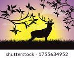 vector silhouette of deer in... | Shutterstock .eps vector #1755634952