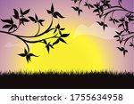 vector silhouette of a sunset... | Shutterstock .eps vector #1755634958