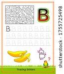 worksheet for tracing letters.... | Shutterstock .eps vector #1755725498