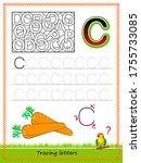 worksheet for tracing letters.... | Shutterstock .eps vector #1755733085