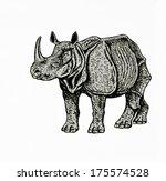 indian rhino drawing | Shutterstock . vector #175574528