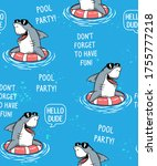 cool shark in pool seamless... | Shutterstock .eps vector #1755777218