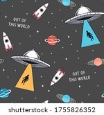 hand drawn space elements... | Shutterstock .eps vector #1755826352