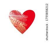 red heart with a golden hatch...   Shutterstock .eps vector #1755858212