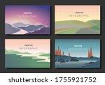 landscapes vector set  with... | Shutterstock .eps vector #1755921752