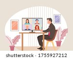 businessman speaking with... | Shutterstock .eps vector #1755927212