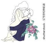 bride and groom hugging each...   Shutterstock .eps vector #1755939818
