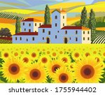 rural farm surrounded by... | Shutterstock .eps vector #1755944402