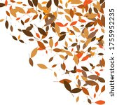 leaves. throw autumn leaves.... | Shutterstock .eps vector #1755952235