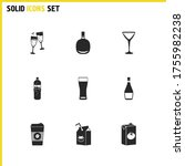 alcohol icons set with cocktail ...