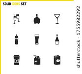 drink icons set with cocktail...