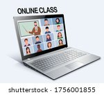 online class. pupils or...   Shutterstock .eps vector #1756001855