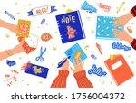 creative scrapbooking hobby ... | Shutterstock .eps vector #1756004372