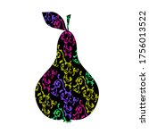 pear silhouette with decorative ...   Shutterstock .eps vector #1756013522