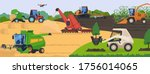 agricultural machinery in field ... | Shutterstock .eps vector #1756014065