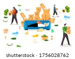 people moving mess house...   Shutterstock .eps vector #1756028762