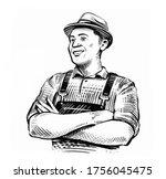hand drawn sketch happy farmer... | Shutterstock . vector #1756045475