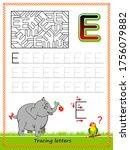 worksheet for tracing letters.... | Shutterstock .eps vector #1756079882