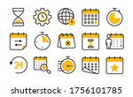 global sphere and calendar icon ... | Shutterstock .eps vector #1756101785