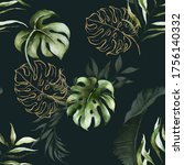 Green And Gold Tropical Leaves...