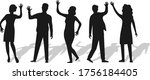 Silhouettes Of People Waving...