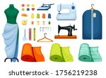 supplies sewing set. sewing... | Shutterstock .eps vector #1756219238