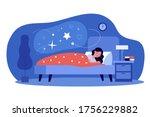 woman sleeping in her bedroom.... | Shutterstock .eps vector #1756229882