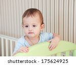 sleepy toddler child in a bed... | Shutterstock . vector #175624925