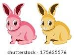 two cartoon bunnies of pink and ... | Shutterstock .eps vector #175625576