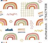 hand drawn cute rainbow... | Shutterstock .eps vector #1756279208