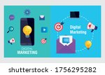 smartphone and envelope with... | Shutterstock .eps vector #1756295282