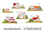 Set Of Country Houses On...
