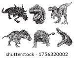 hand drawn set of dinosaurs... | Shutterstock .eps vector #1756320002