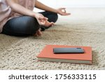 Small photo of woman break time pose Yoga meditation and turn off mobile phone and disconnect internet