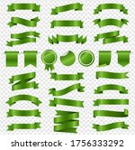 green ribbons and labels set... | Shutterstock .eps vector #1756333292