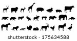 Stock photo  set of animals silhouette 175634588