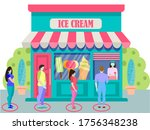 the concept of social distance...   Shutterstock .eps vector #1756348238