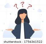 beautiful girl with question... | Shutterstock .eps vector #1756361522
