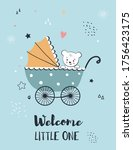 baby shower greeting with  cute ... | Shutterstock .eps vector #1756423175