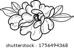 black and white flower art work   Shutterstock .eps vector #1756494368