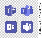 microsoft teams logo remote... | Shutterstock .eps vector #1756503935